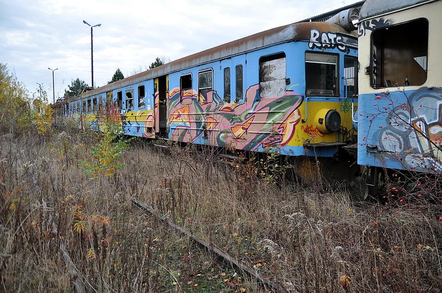 zniszczony pociąg
